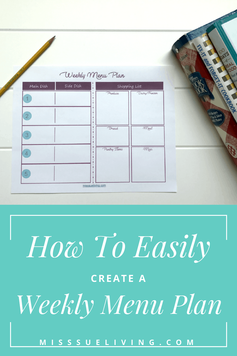 How to Easily Create a Weekly Menu Plan ~ Miss Sue Living